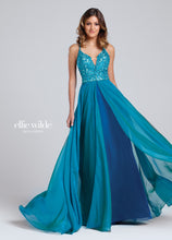 Load image into Gallery viewer, Ellie Wilde Two Tone Chiffon Gown EW117137 Teal