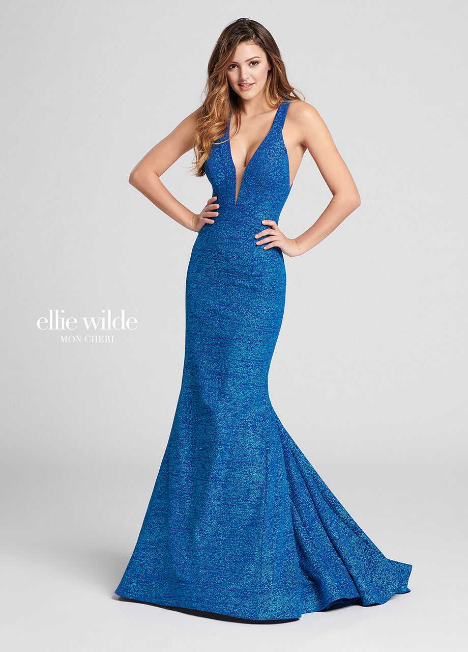 Ellie Wilde Stretch Shimmer Mermaid Dress EW21801 Turquoise