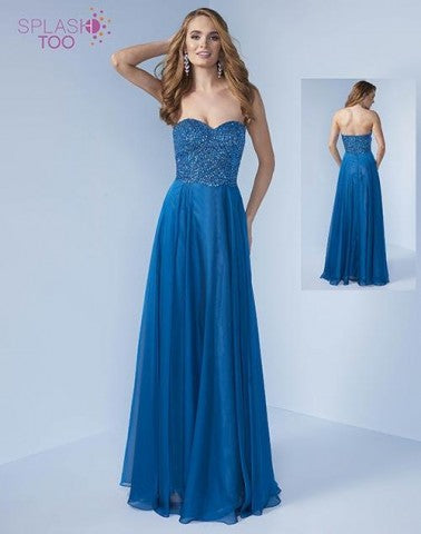 Splash Beaded Chiffon A-line Gown H301 Peacock