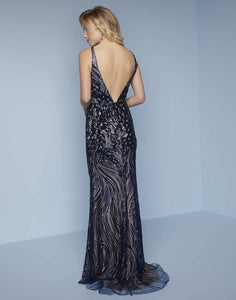 Splash Prom Sequin Sheath Gown K123 Navy
