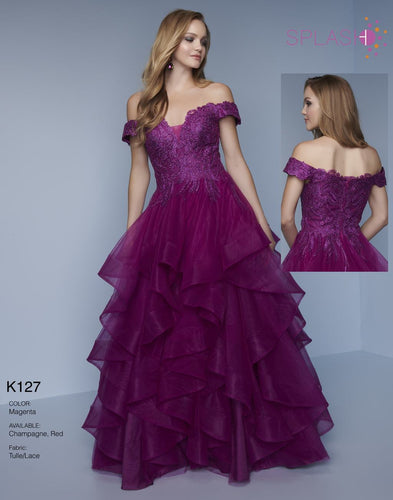 Splash Prom Off Shoulder Ruffle Ballgown K127 Magenta