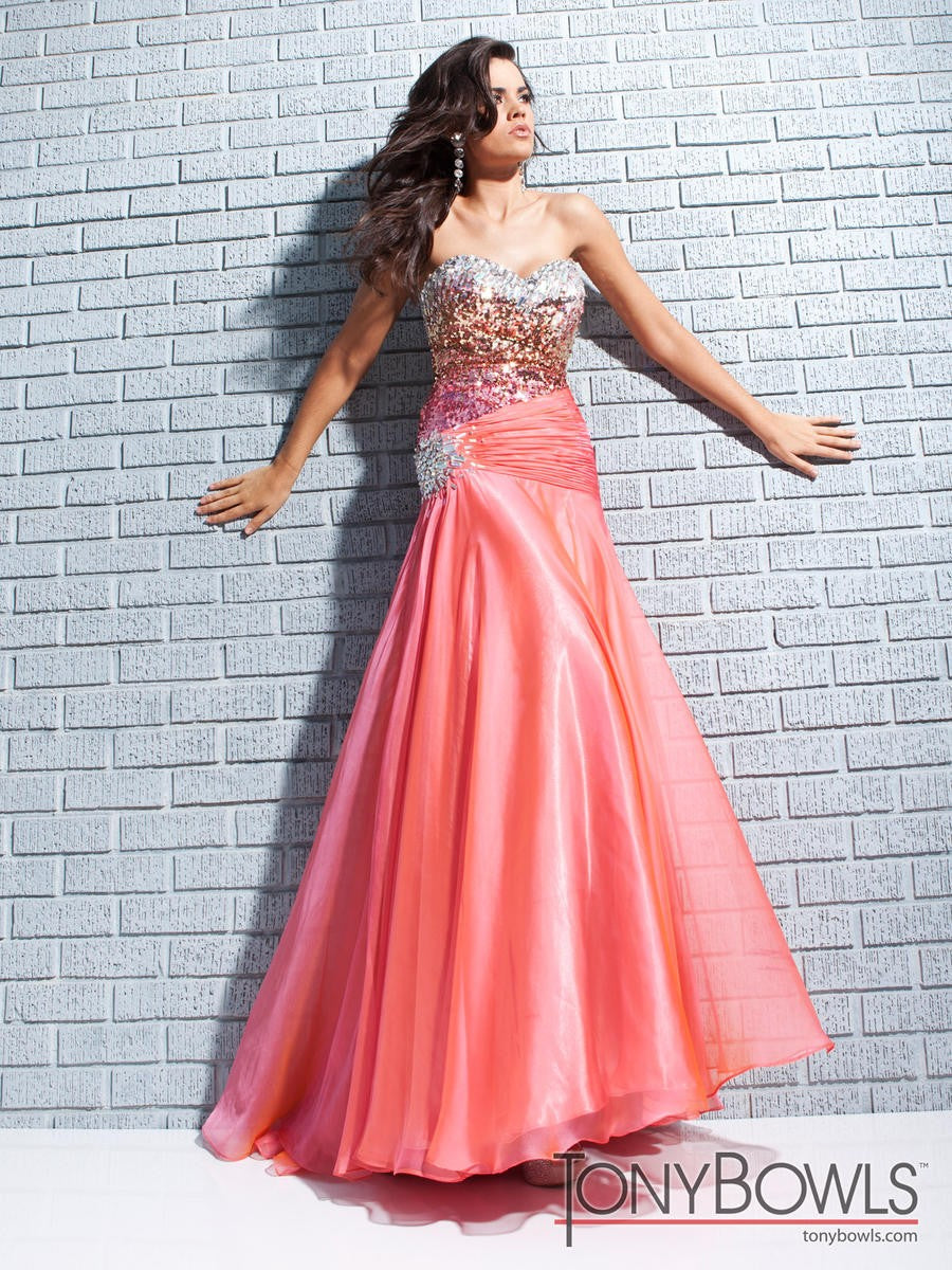 Tony Bowls Fit & Flare Coral Sequin Gown 113511