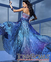 Load image into Gallery viewer, Tony Bowls Evenings Leopard Print Chiffon Gown TBE11220A Blue Multi