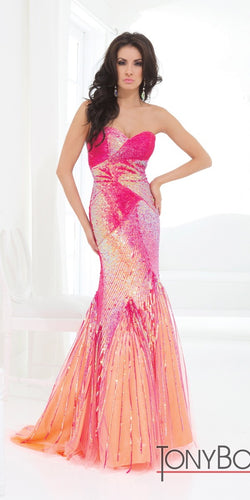 Tony Bowls Evenings Beaded Mermaid Gown TBE11402 Fuchsia/Orange