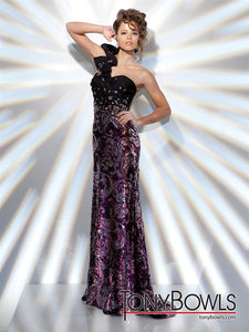 Tony Bowls Evenings Sequin One Shoulder Gown TBE21121 Black/Gold