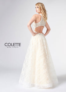 Colette High Neck A-Line Gown CL21861 Ivory/Nude