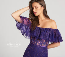Load image into Gallery viewer, Ellie Wilde Boho Off Shoulder Lace Dress EW118110 Purple