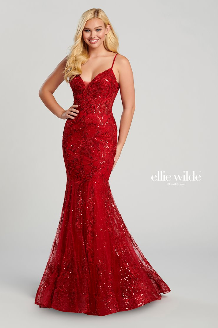 Ellie Wilde Lace Sequin Mermaid Gown EW120032