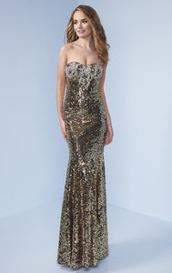 Splash Prom Gold Strapless Sequin Dress H324