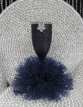 Load image into Gallery viewer, Navy Blue Glitter Wine Flute with Tulle Skirt