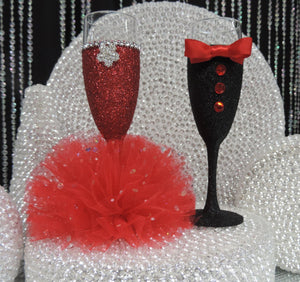 Red Glitter Wine Flute with Tulle Skirt