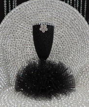 Load image into Gallery viewer, Black Glitter Wine Flute with Tulle Skirt