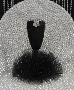 Black Glitter Wine Flute with Tulle Skirt