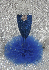 Royal Blue Glitter Wine Flute with Tulle Skirt