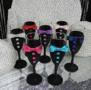 Black Glitter Tuxedo Wine/Champagne Flute Glass with Red  Bow Tie