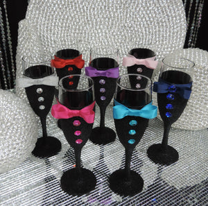Black Glitter Tuxedo Wine Flute Glass with Pink Shimmer Bow Tie