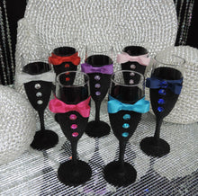 Load image into Gallery viewer, Black Glitter Tuxedo Wine Glass with Turquoise Shimmer Bow Tie