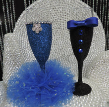 Load image into Gallery viewer, Black Glitter Tuxedo Wine Glass with Royal Blue Bow Tie