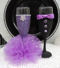 Load image into Gallery viewer, Purple Multi Glitter Wine Flute with Tulle Skirt