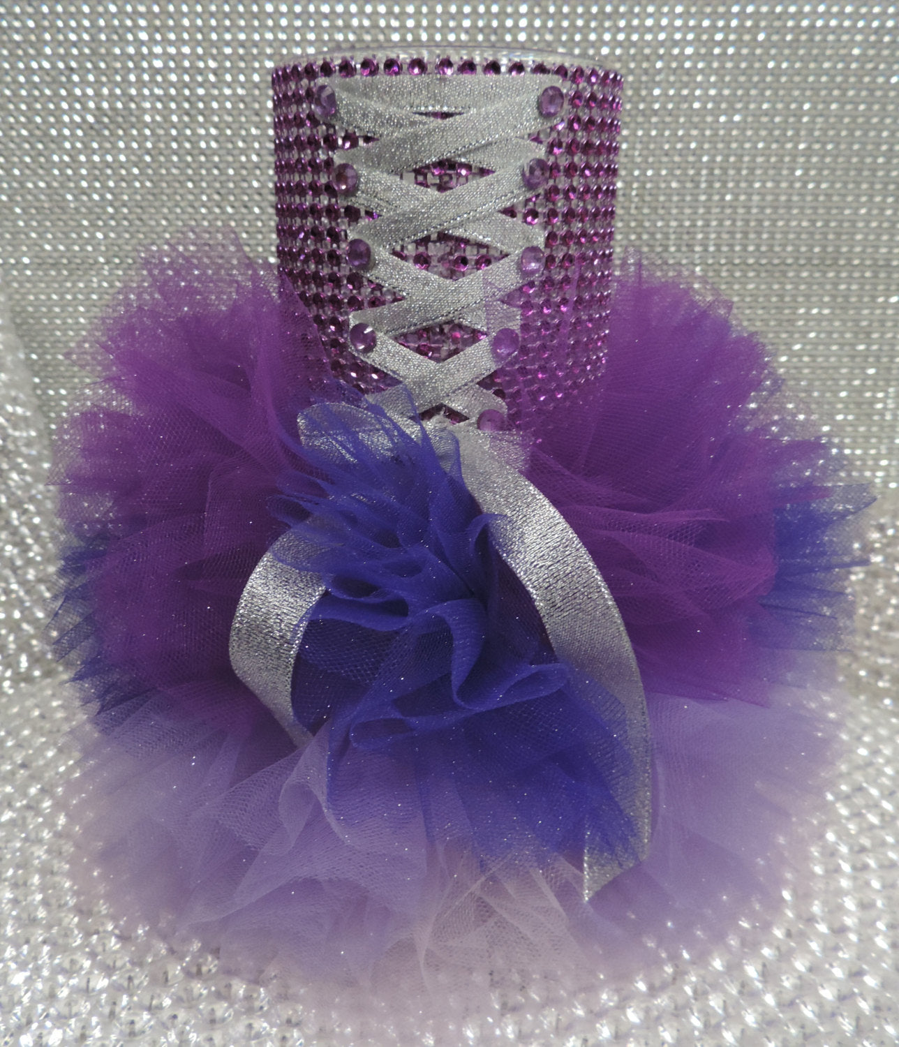 Three Tone Purple Corset Tutu Dress Cylinder Vase