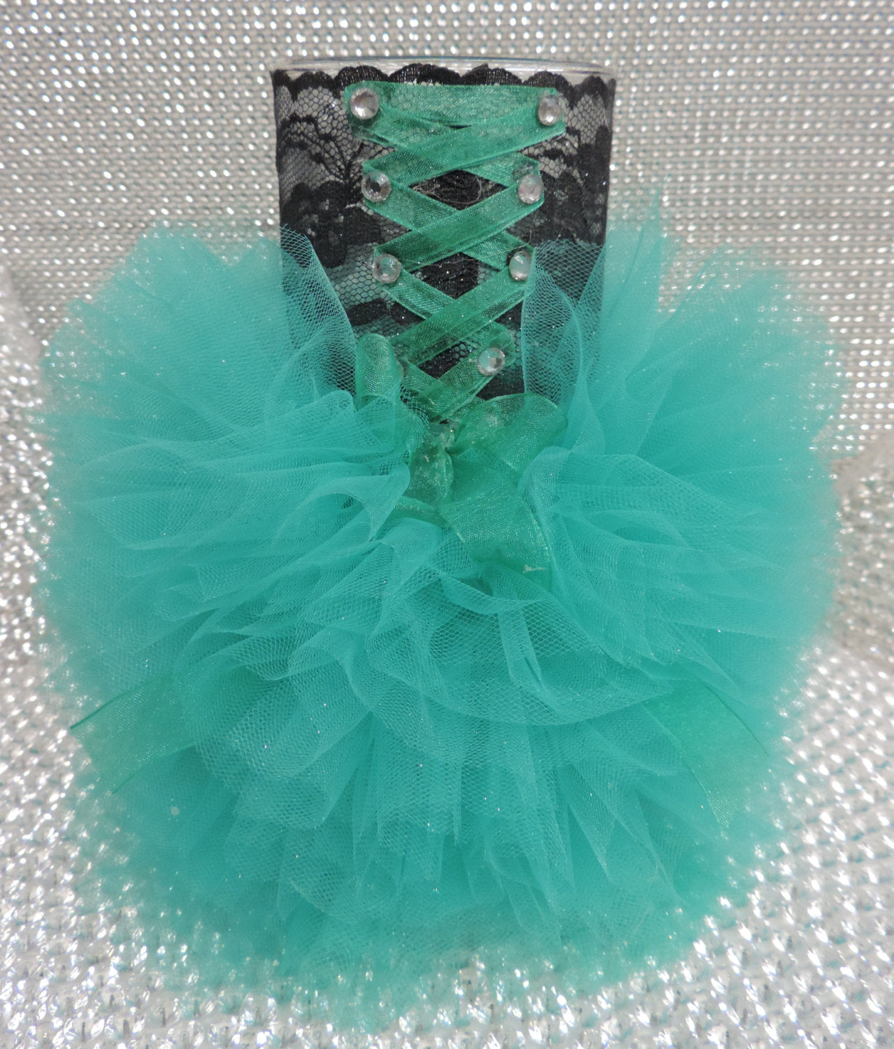 Black/Teal Corset Tutu Dress Cylinder Vase