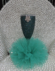 Teal Glitter Wine Flute with Tulle Skirt