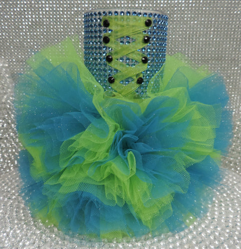 Lime/Turquoise Corset Tutu Dress Cylinder Vase