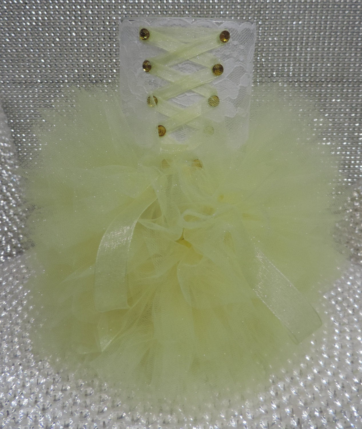 White/Yellow Corset Tutu Dress Cylinder Vase