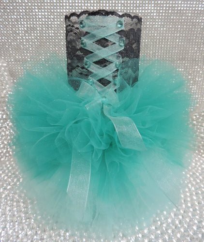 Two Tone Teal Corset Tutu Dress Cylinder Vase