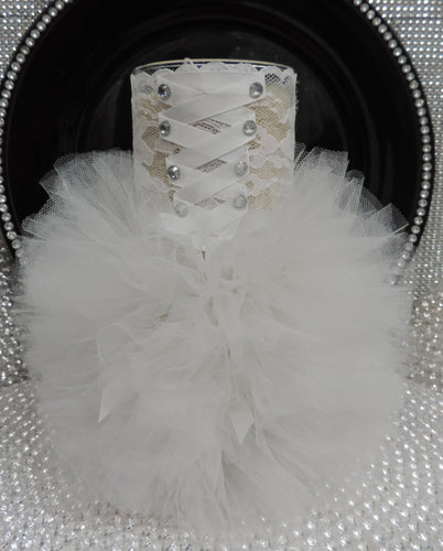 White Corset Tutu Dress Cylinder Vase