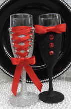 Load image into Gallery viewer, Corset Wine Glass - Silver Glitter with Red Lace Up