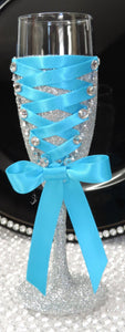 Corset Wine Glass - Silver Glitter with Turquoise  Lace Up