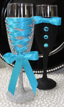 Load image into Gallery viewer, Corset Wine Glass - Silver Glitter with Turquoise  Lace Up