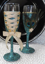 Load image into Gallery viewer, Corset Wine Flute Glass - Teal Glitter with Gold Lace Up