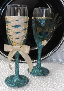 Corset Wine Flute Glass - Teal Glitter with Gold Lace Up