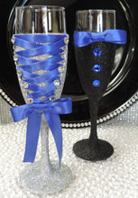 Load image into Gallery viewer, Corset Wine Glass - Silver Glitter with Royal Blue Lace Up