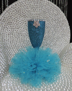 Turquoise Glitter Wine Flute with Tulle Skirt