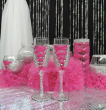 Load image into Gallery viewer, Fuchsia Tulle Corset Cylinder Vase - Wedding Centerpiece