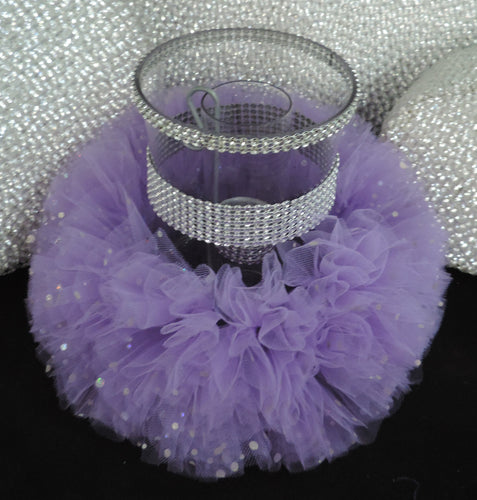 Lavender Tulle Hurricane Tealight Wedding Centerpiece