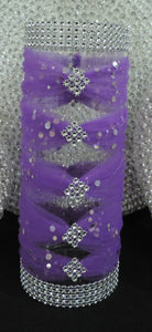 Purple Tulle Corset Cylinder Vase - Wedding Centerpiece