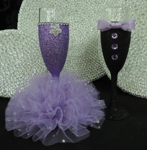 Black Glitter Tuxedo Wine Glass with Lavender Bow Tie
