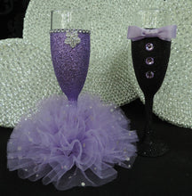 Load image into Gallery viewer, Lavender Glitter Wine Flute with Tulle Skirt