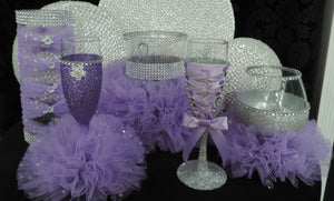 Corset Wine Glass - Silver Glitter with Lavender Lace Up