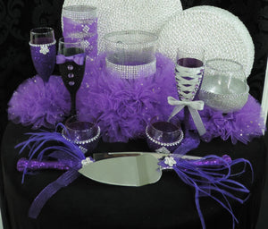 Purple Glitter Candle Holders - Set of 4