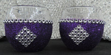 Load image into Gallery viewer, Purple Glitter Candle Holders - Set of 4