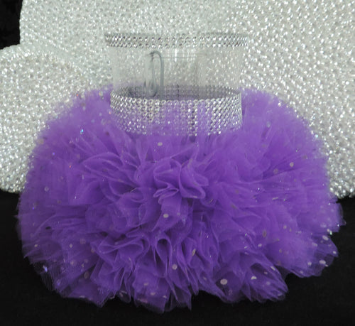Purple Tulle Hurricane Tealight Wedding Centerpiece