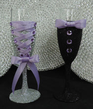 Load image into Gallery viewer, Corset Wine Glass - Silver Glitter with Lavender Lace Up