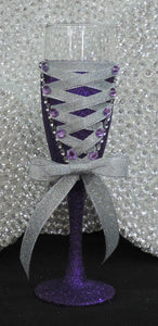 Corset Wine Glass - Purple Glitter with Silver Lace Up