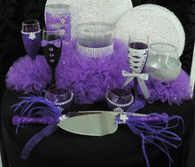 Load image into Gallery viewer, Corset Wine Glass - Purple Glitter with Silver Lace Up
