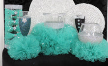 Load image into Gallery viewer, Teal Tulle Corset Cylinder Vase - Wedding Centerpiece